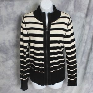 Jones NY black/cream stripe zip-up sweater